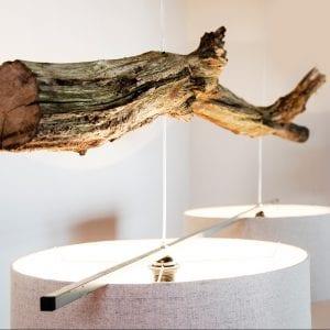 houten boomstronk hanglamp